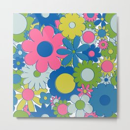 Funky Daisy Floral in Neon Metal Print