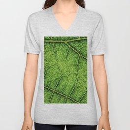 Macro Green leaf Unisex V-Neck