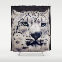 snow leopard Shower Curtains featuring Snow Leopard by Angela Dölling, AD DESIGN Photo + Photo