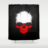 poland Shower Curtains featuring Flag of Poland on a Chaotic Splatter Skull by Jeff Bartels