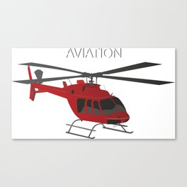 Red Vector Helicopter Canvas Print