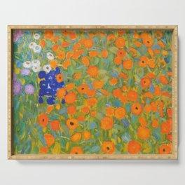 Floral Garden with Orange Flower by Gustav Klimt Serving Tray