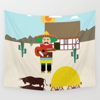 mexican Wall Tapestries featuring Mexican Village  by Design4u Studio