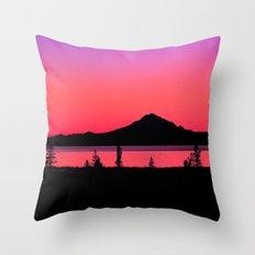 Pink Sunset Silhouette - Mt. Redoubt, Alaska Throw Pillow