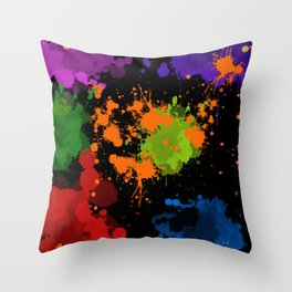 Paint Spatters Throw Pillow