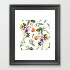 Watercolor spring floral pattern Framed Art Print