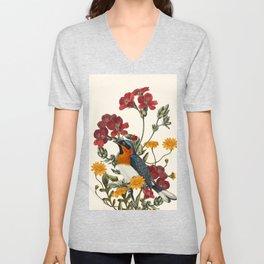 Little Bird and Flowers Unisex V-Neck