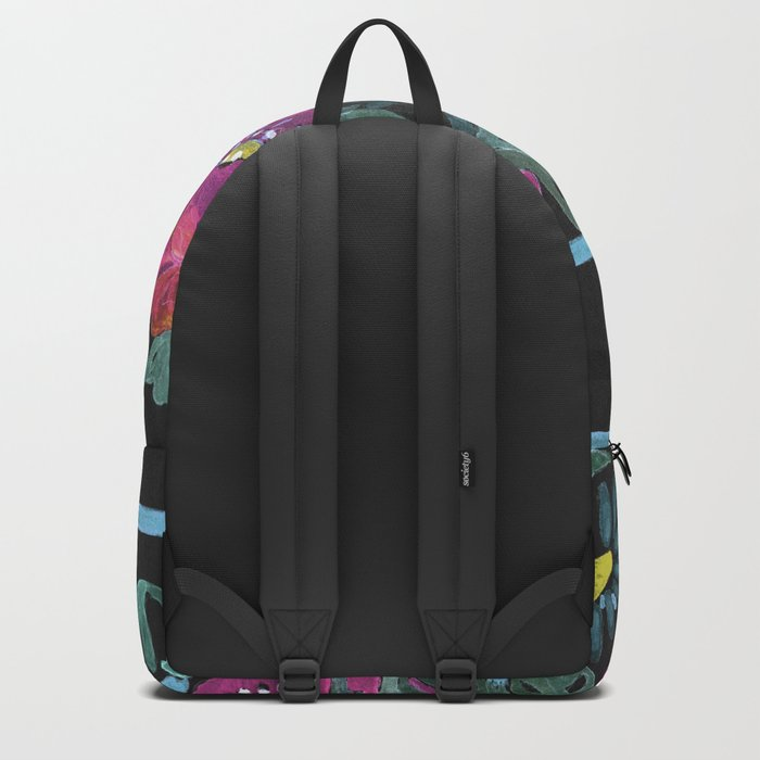 Watercolor Poppies on a striped background. 2 Backpack
