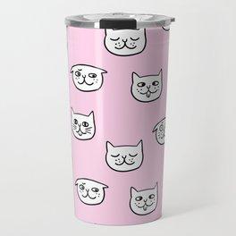 Cat heads in pink Travel Mug