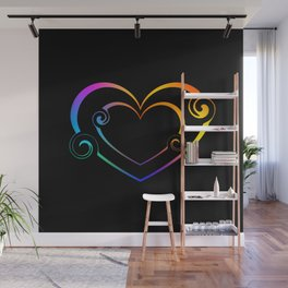 Double black heart made of black spirals and rainbow monograms in vintage style. Wall Mural