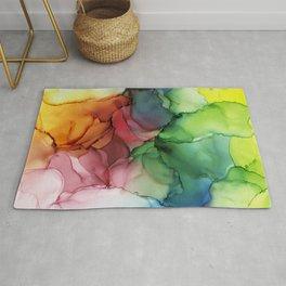Rainbow Bloom Abstract ink Rug