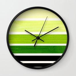 Sap Green Mid Century Modern Minimalist Circle Round Photo Staggered Sunset Geometric Stripe Design Wall Clock