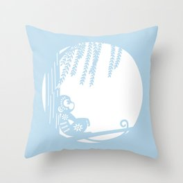 Moon Night Monkey Throw Pillow