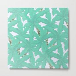 Tropical Biscay Green Foliage Brilliant White Design Metal Print
