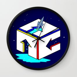 A Space Rocket Breaking through the Water Above Wall Clock