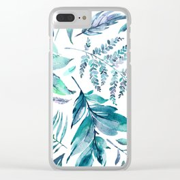 Teal manic botanic Clear iPhone Case