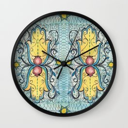 Double Hamsa Wall Clock