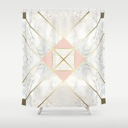 Gold & Marble & Blush & Olive 01 Shower Curtain