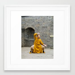 Monk at the Grreat Wall Framed Art Print