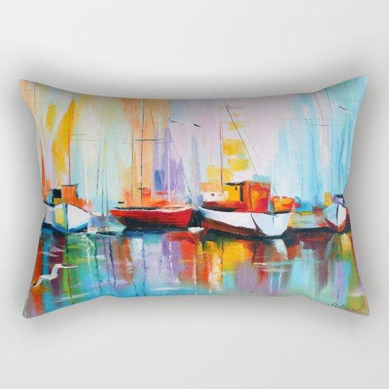 Boats at the dock Rectangular Pillow
