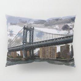 Grey Rainy Day at Manhattan Bridge NYC Pillow Sham