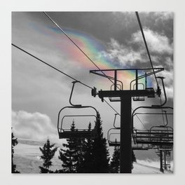 4 Seat Chair Lift Rainbow Sky B&W Canvas Print