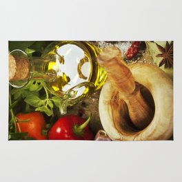 Olive oil, herbs and spices Rug