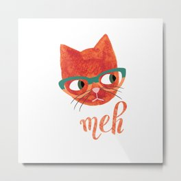 Hipster Cat in Glasses - Meh - Illustration Metal Print