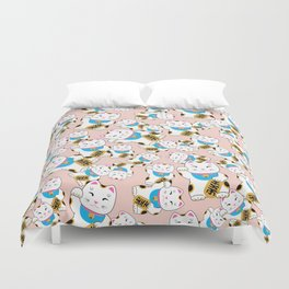 Maneki-neko good luck cat pattern Duvet Cover