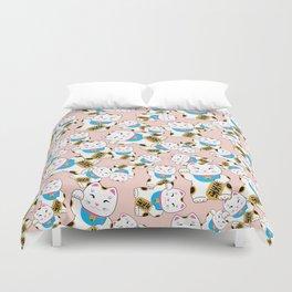 Maneki-neko good luck cat pattern Duvet Cover