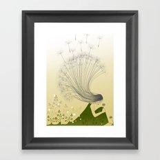 the girl with dandelion hair Framed Art Print