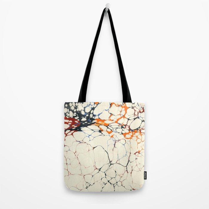 Marble Cream Blue / Orange Square # 1 Tote Bag