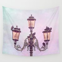 lanterns Wall Tapestries featuring MAGICAL VENICE | Pink Lanterns by VIAINA