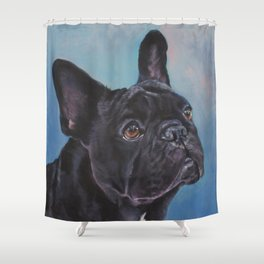 french bulldog dog portrait art from an original painting by L.A.Shepard Shower Curtain