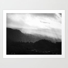 A foggy day in the hills Art Print