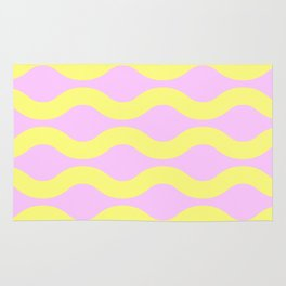Wavey Lines Yellow & Pink Rug