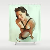 pin up Shower Curtains featuring Pin-Up by Pinturero