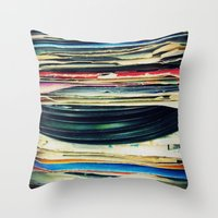 michael jackson Throw Pillows featuring put your records on by Bianca Green