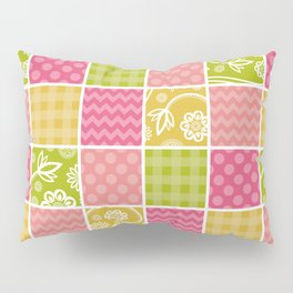 Zigzag, Polka Dots, Gingham - Green Pink Yellow Pillow Sham
