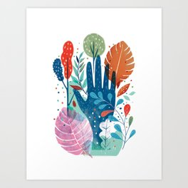 Hand in forest Art Print