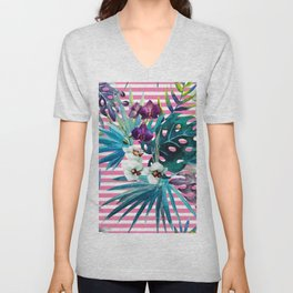 orchid of stripe Unisex V-Neck