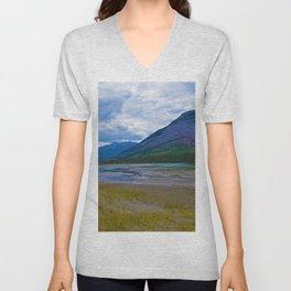 Morrow Peak & the Athabasca River in Jasper National Park, Canada Unisex V-Neck