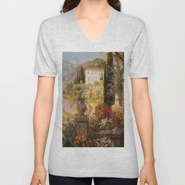 Amalfi Coast Campania, Italy Garden Terrace Vineyard and Flowers landscape seaside painting Unisex V-Neck