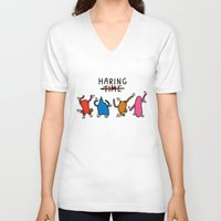 keith haring V-neck T-shirts featuring Haring Time2 by le.duc
