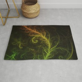 Fractal Hybrid of Guzmania Tuti Fruitti and Ferns Rug