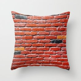 Background with painted brick wall Throw Pillow