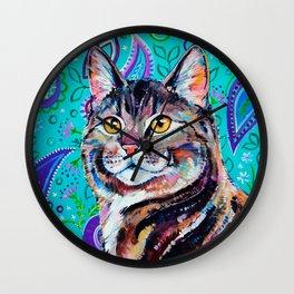 Tabby Cat on Paisley Wall Clock