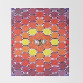 Bee Sacred Geometry Throw Blanket
