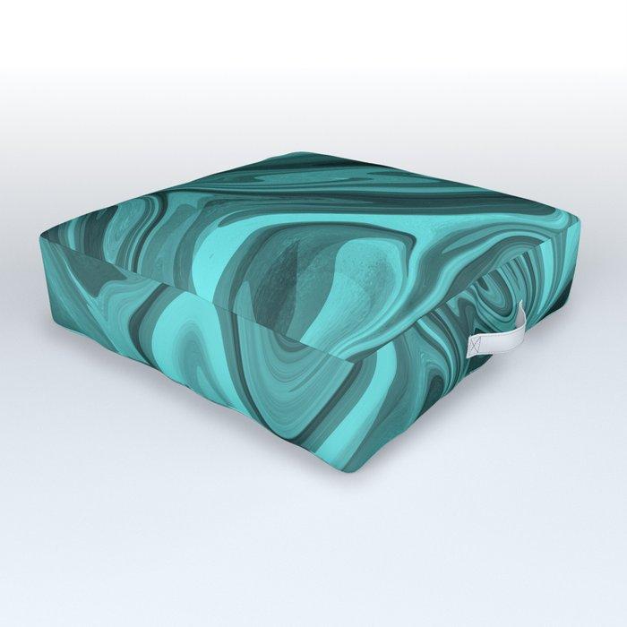 Teal Twirl Outdoor Floor Cushion