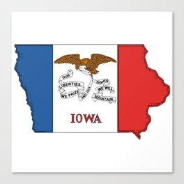 Iowa Map with Iowan Flag Canvas Print